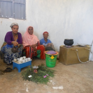 Women using the kitchen in our first Biogas facility