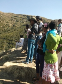 The children looking down from the highest point in Ethiopia!