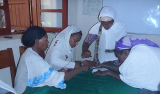Women working on toys for children at Gondar Hospital as part of income generating activities for the Mothers Coffee Morning