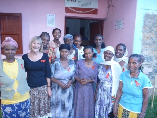 Jane with members of the Mothers Coffee Morning on World AIDS day