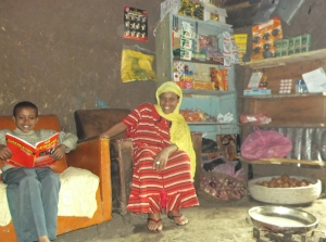 Kedire and his mother work and study at the shop